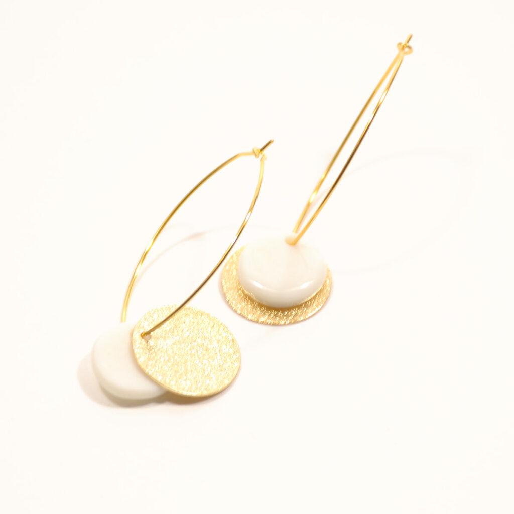 boucles d'oreilles porcelaine or