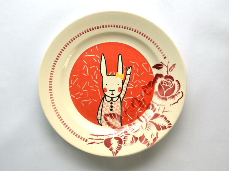 Assiette salut lapin rouge